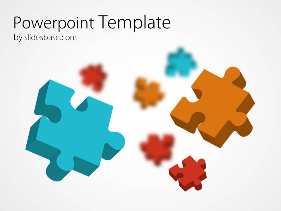 3d colorful puzzle powerpoint template slidesbase