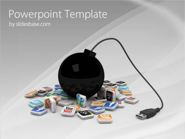 3d social media icons creative presentation PPT template
