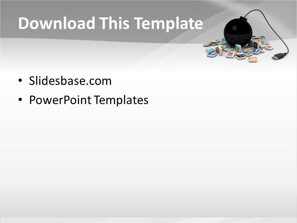 3d social media bomb powerpoint template slidesbase for Facebook powerpoint presentation template