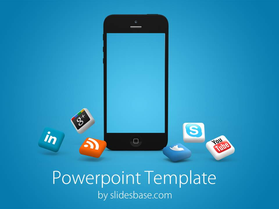 iphone social media powerpoint template | slidesbase, Modern powerpoint