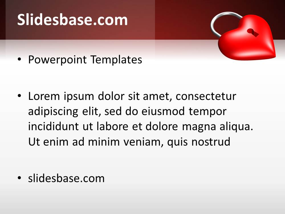 Locked red heart powerpoint template slidesbase 3d valentine red heart locked symbol no love toneelgroepblik Gallery