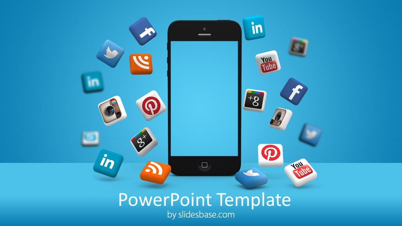 3d Iphone Social Media Icons Powerpoint Template Slidesbase