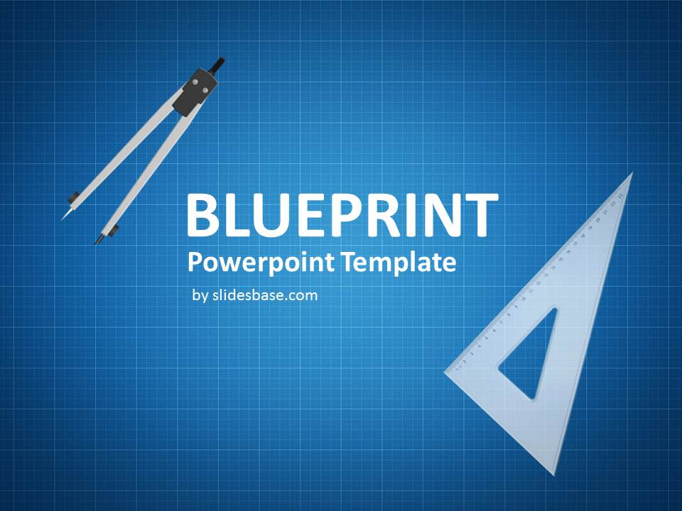 Blueprint sketch drawing powerpoint template slidesbase blueprint technical drawing sketch ruler blue paper powerpoint malvernweather Images