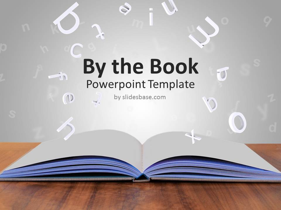 By the book powerpoint template slidesbase book learning 3d letters education open book powerpoint toneelgroepblik