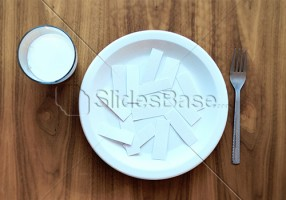 brain-food-ideas-papers-on-plate-wood-desk-creative-background-stock-photo