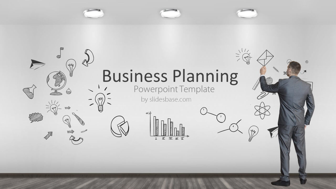 Business planning powerpoint template slidesbase businessman planning business plan conept sketch on wall cheaphphosting Images