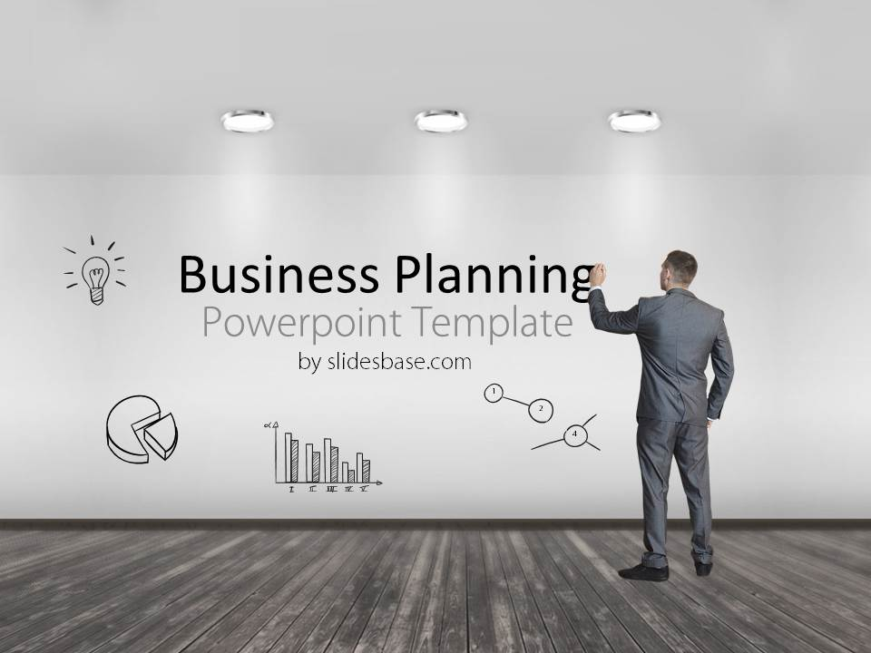 Business planning powerpoint template slidesbase businessman standing writing business plan to wall drawing pronofoot35fo Gallery
