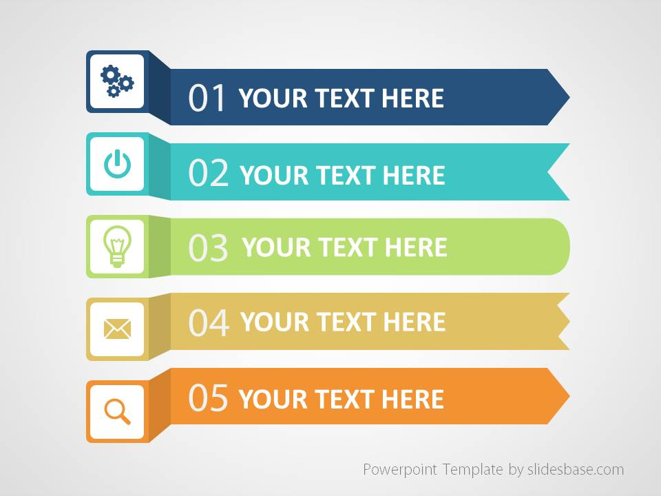 colorful infographic list powerpoint template | slidesbase, Powerpoint templates