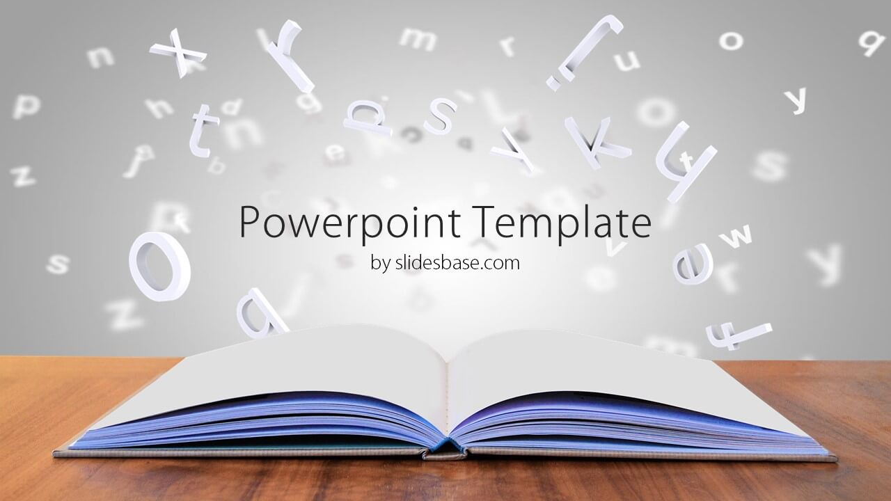 open book on desk powerpoint template