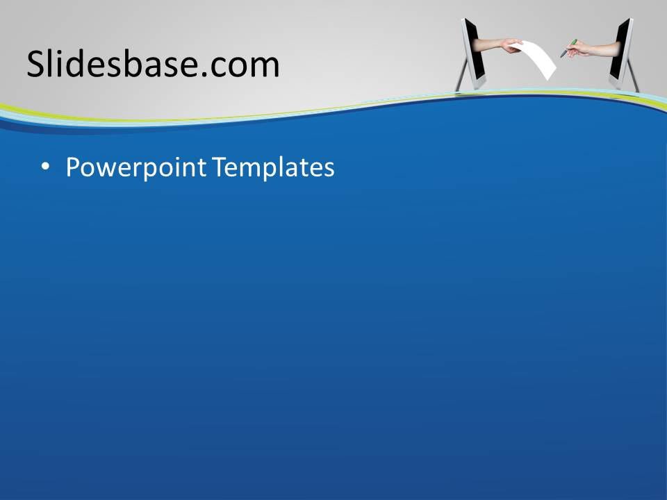 Sign a deal powerpoint template slidesbase hands out of monitor digital sign contract deal toneelgroepblik Gallery