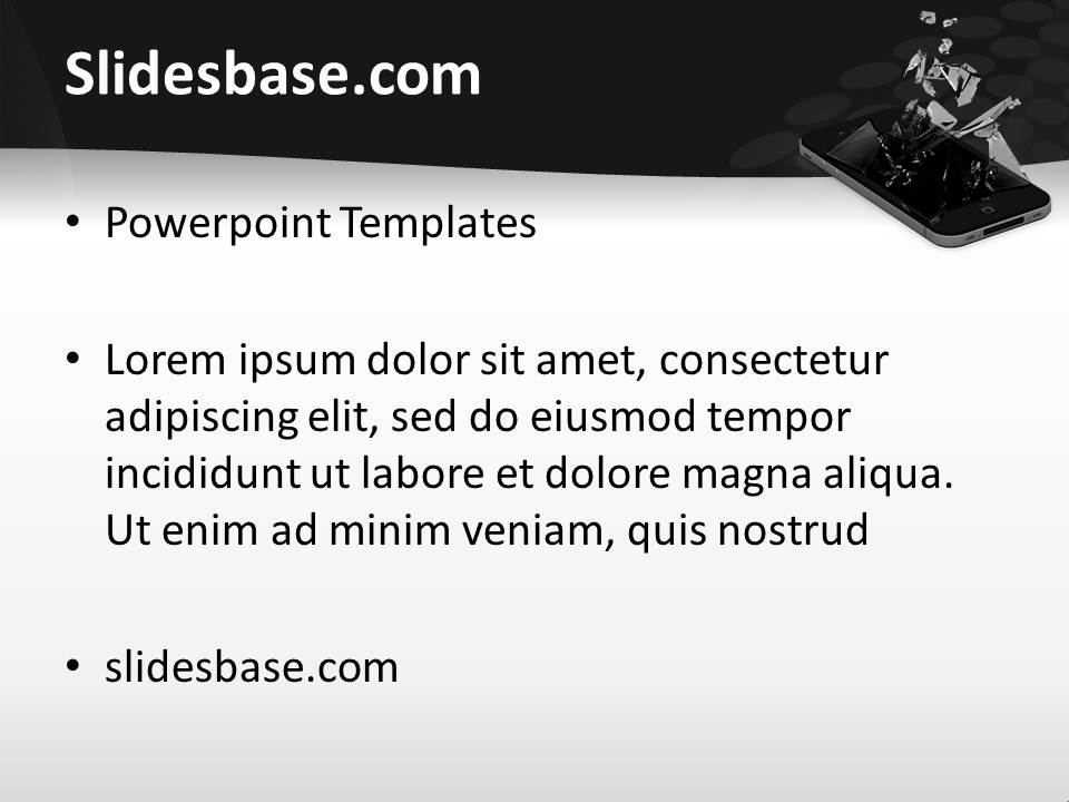 Broken iphone powerpoint template slidesbase iphone broken screen seo mobile smartphone apps touchscreen toneelgroepblik