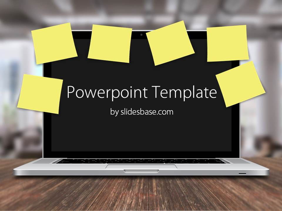 laptop amp postit notes powerpoint template slidesbase