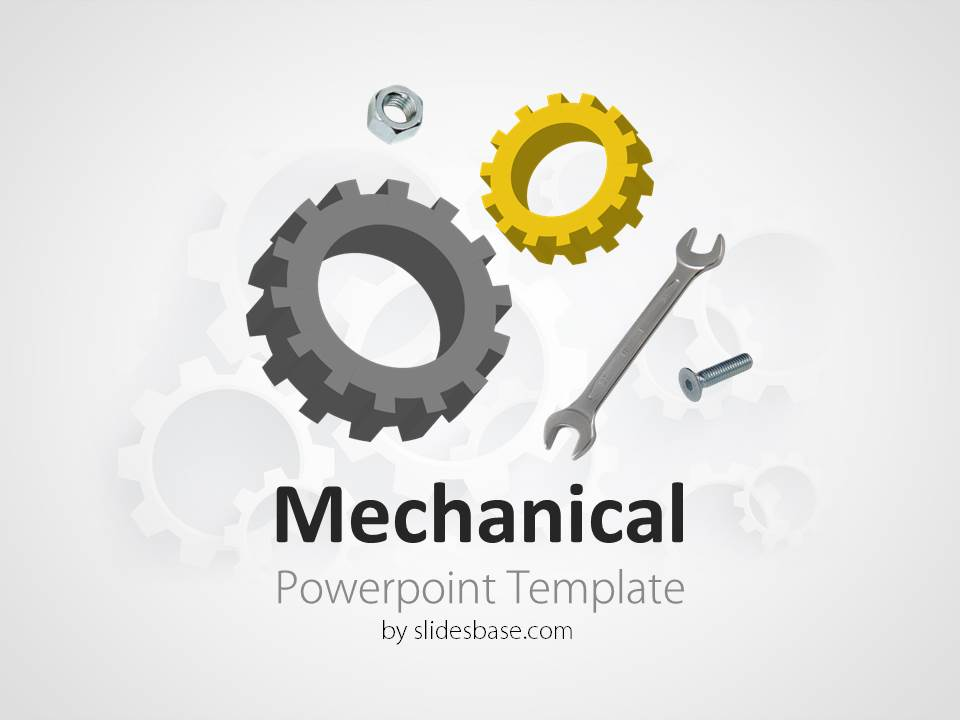 Engineering Powerpoint Template | mechanical engineering gears cogs wrench powerpoint template Slide1 1