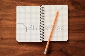 notebook-pencil-paper-checkered-woodesk-desk-stock