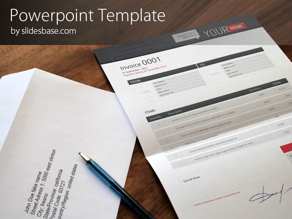 paper invoice powerpoint template slidesbase. Black Bedroom Furniture Sets. Home Design Ideas