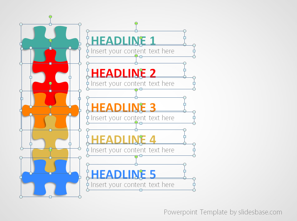 puzzle list diagram powerpoint template slidesbase. Black Bedroom Furniture Sets. Home Design Ideas