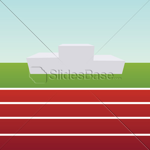 running-sports-track-podium-pedestal-winner-red-blue-sky-vector-stock
