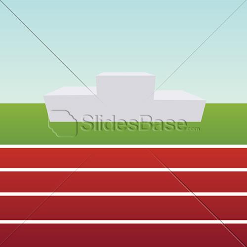 running-sports-track-podium-pedestal-winner-red-blue-sky-vector-stock