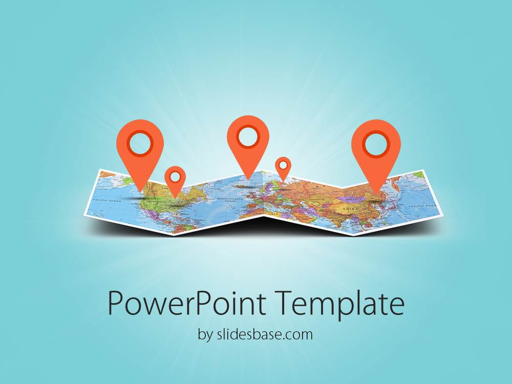 3d folded map powerpoint template slidesbase 3d folded map travel business world map markers toneelgroepblik Image collections