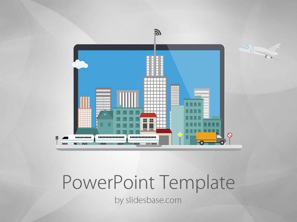 Laptop city powerpoint template slidesbase toneelgroepblik
