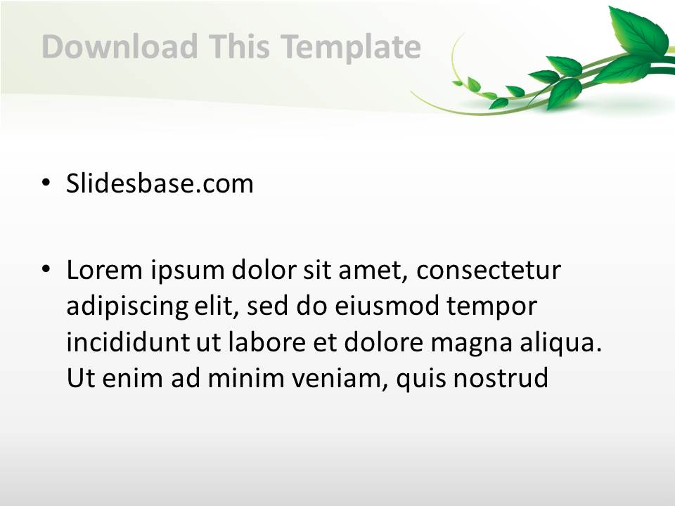 vine leaf powerpoint template | slidesbase, Modern powerpoint