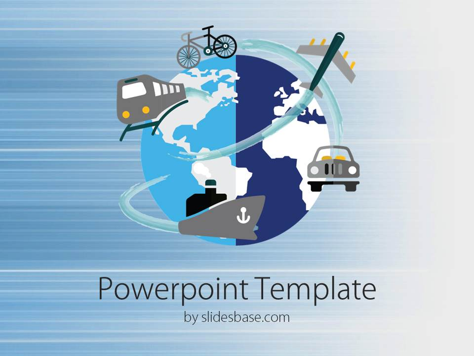 Worldwide transport powerpoint template slidesbase slide1 world bike train ship train plane transport toneelgroepblik Choice Image