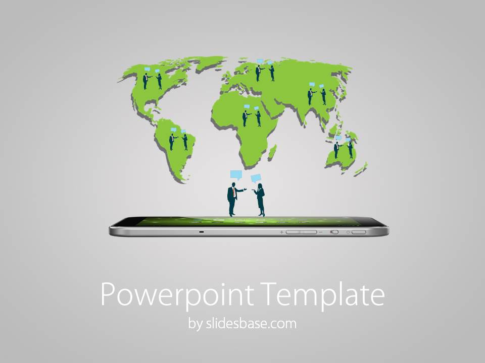 world map with business people powerpoint template slidesbase