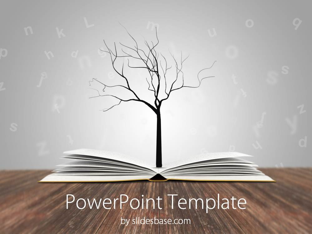 Knowledge tree powerpoint template slidesbase book tree education knowledge reading writing learning school toneelgroepblik