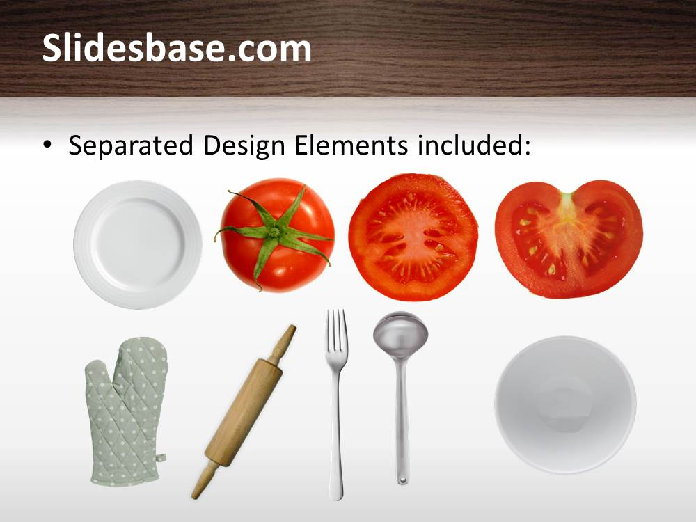 Kitchen table powerpoint table slidesbase cooking kitchen chef slice egg salat tomatoes pan toneelgroepblik