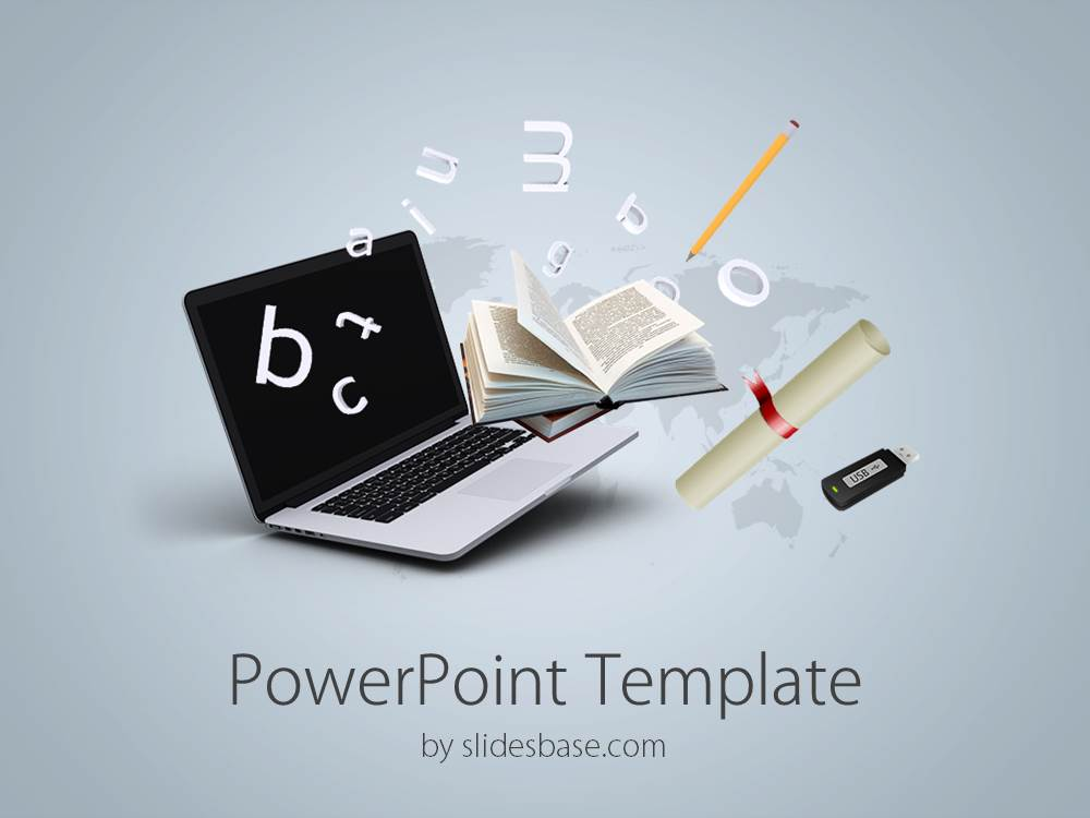 Laptop slidesbase online education powerpoint template toneelgroepblik Gallery