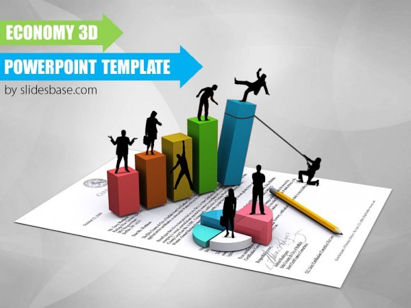 3d business bars silhouettes on paper mini people presentation ppt template