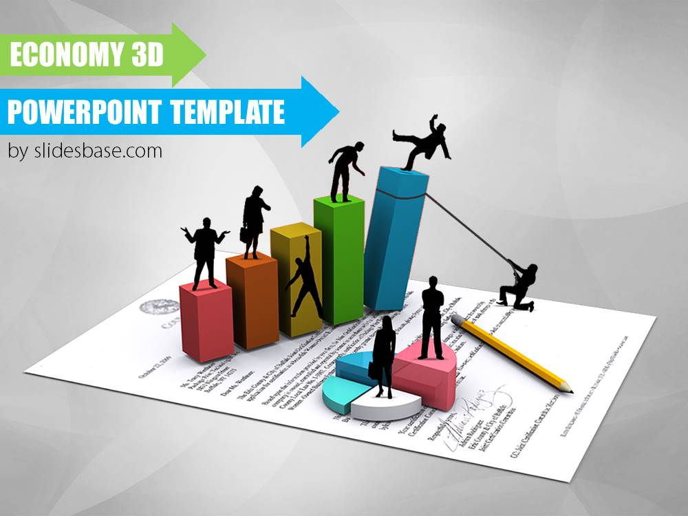 Economy 3d powerpoint template slidesbase economy 3d business bar creative silhouettes powerpoint template friedricerecipe