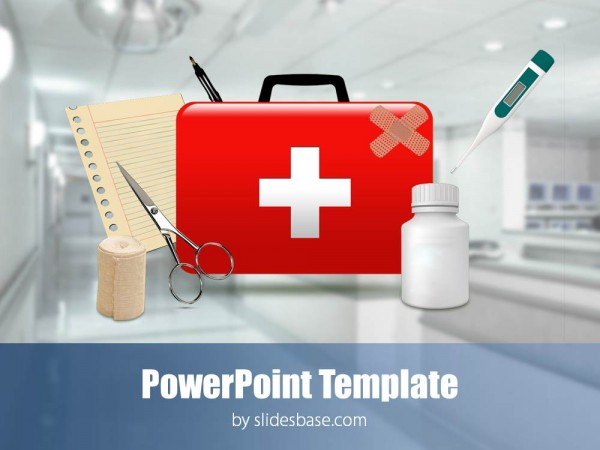 Medical first aid kit 3d hospital emergency powerpoint template slide1