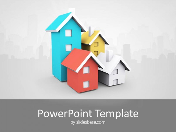 real estate 3d houses presentation template for powerpoint