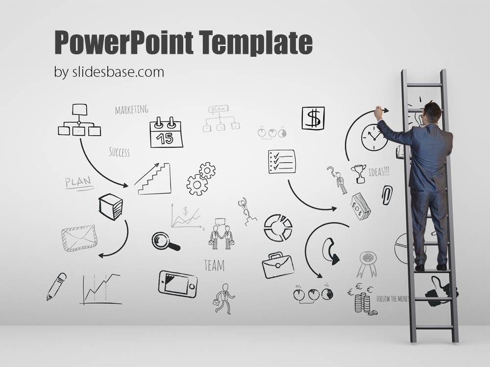 creative businessman ppt template climb ladder
