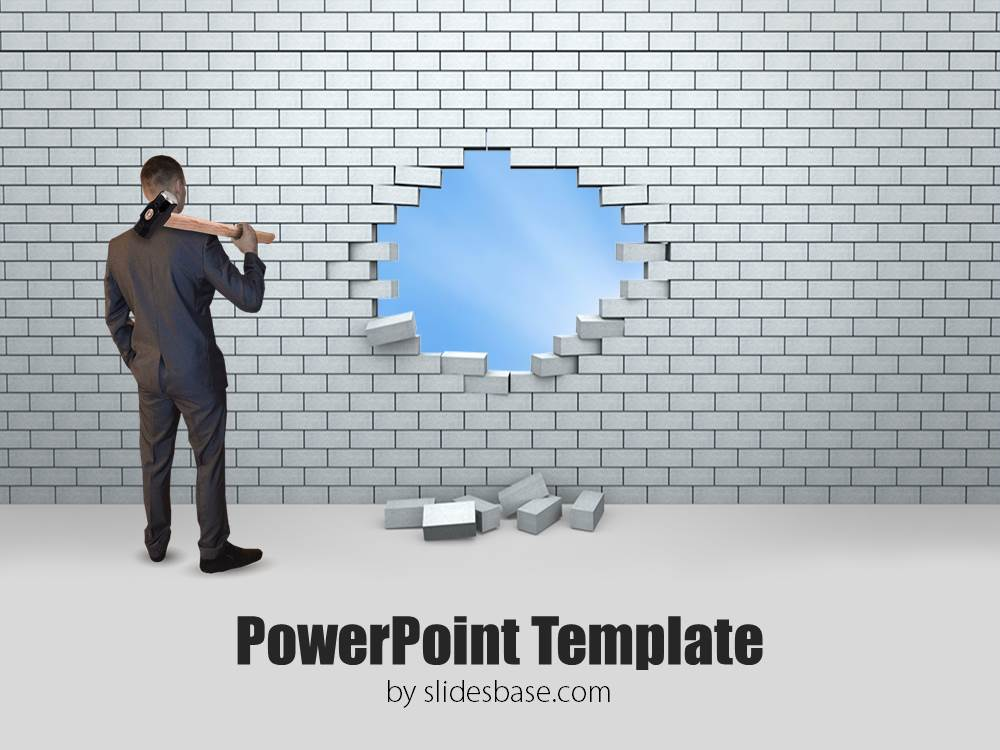 Hole in brick wall breakthrough success business powerpoint template
