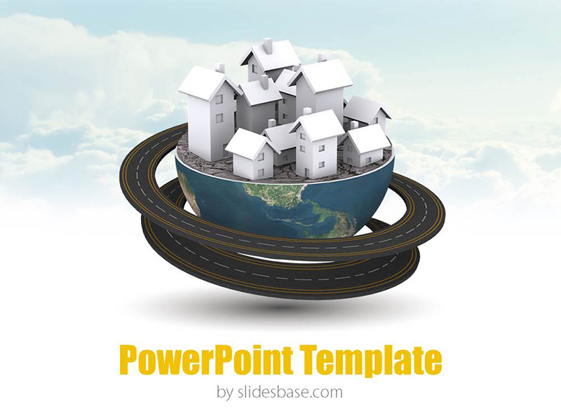 global village 3d – powerpoint template | slidesbase, Presentation templates