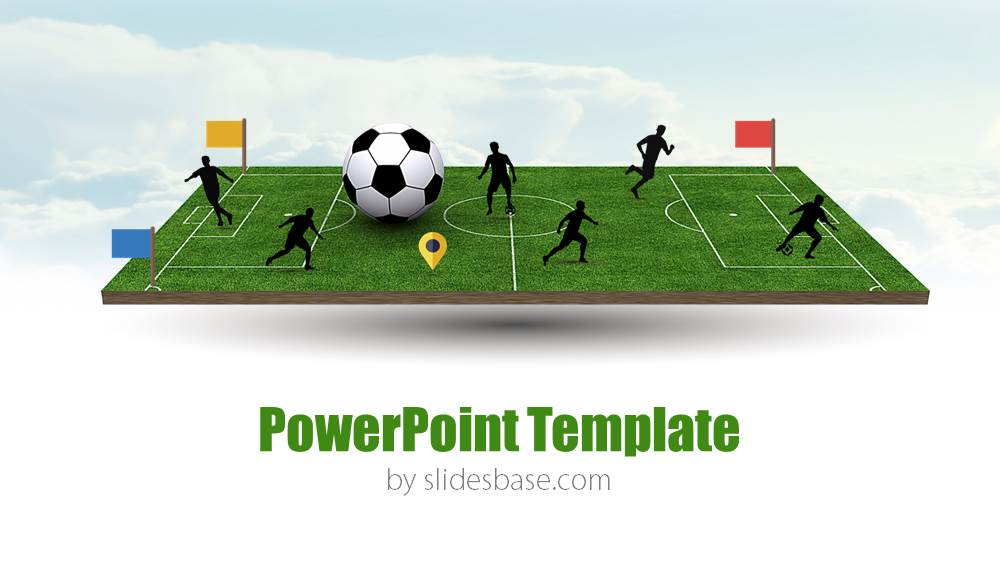 3d soccer pitch powerpoint template | slidesbase, Powerpoint templates