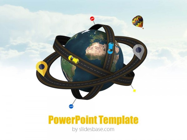 world atom 3d road planet powerpoint ppt template