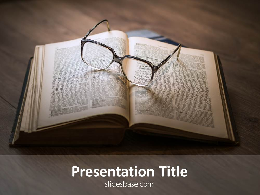 Books reading powerpoint template slidesbase book on desk glasses reading literature powerpoint template toneelgroepblik Image collections