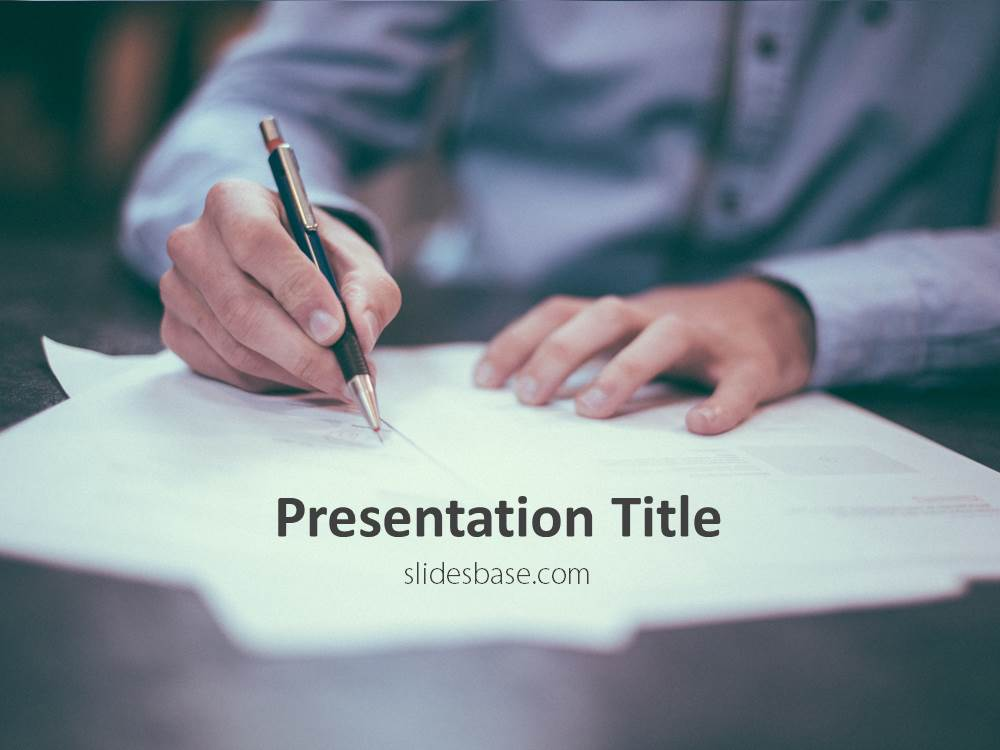 Sign A Contract Powerpoint Template  Slidesbase
