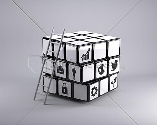 3d-business-rubiks-cube-ladder-business-concept-illustration-startup-stock-photo