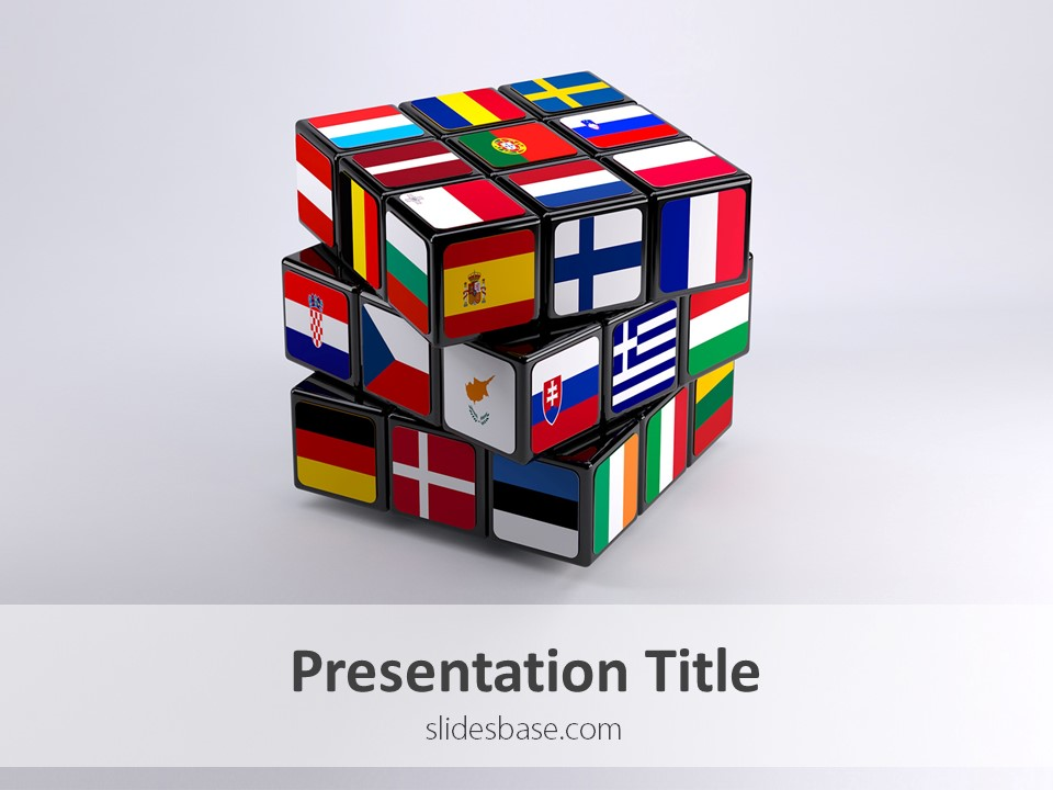 european union cube – powerpoint template | slidesbase, Modern powerpoint
