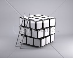 blank-rubiks-cube-with-ladder-engineering-creative-thinking-idea-stock-photo