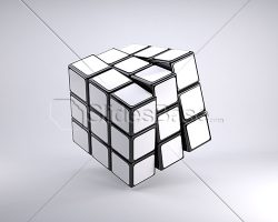 blank-white-3d-rubiks-cube-turning-stock-photo