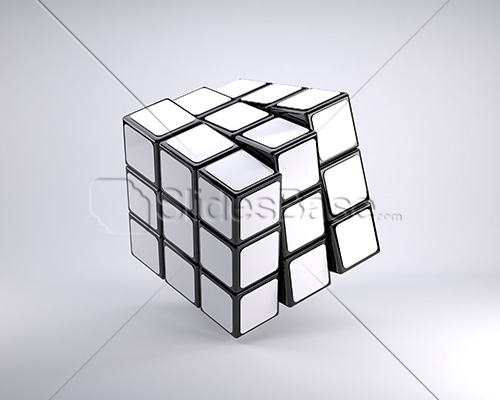 blank-white-3d-rubiks-cube-turning-stock-photo