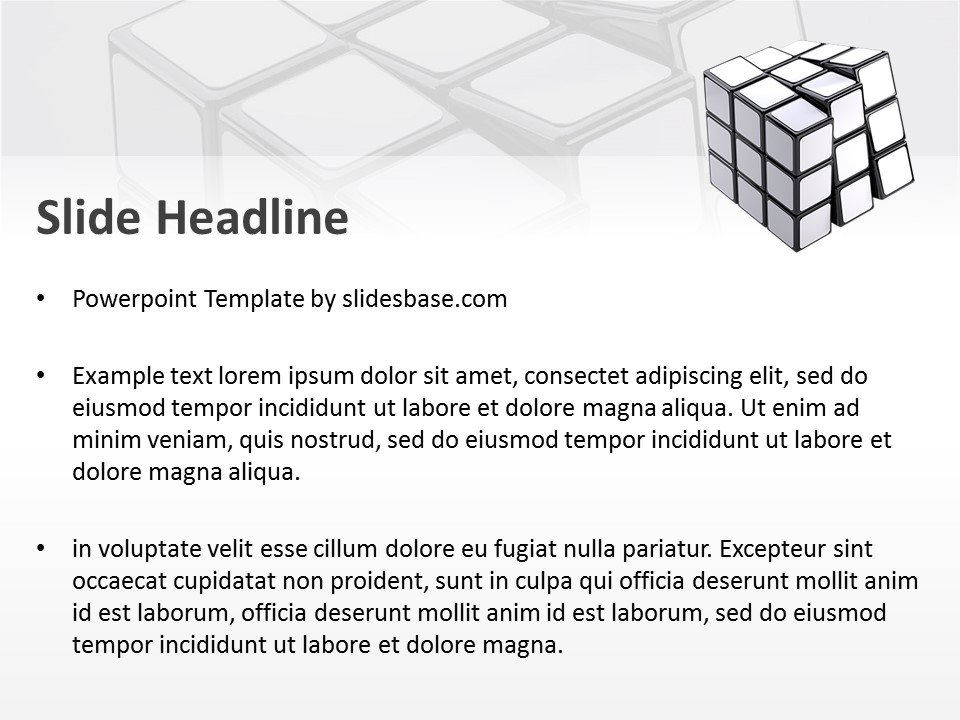 White RubikS Cube  Powerpoint Template  Slidesbase
