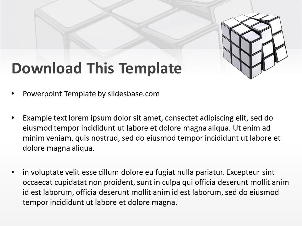 White rubiks cube powerpoint template slidesbase blank white rubiks cube 3d presentation template engineering toneelgroepblik Gallery