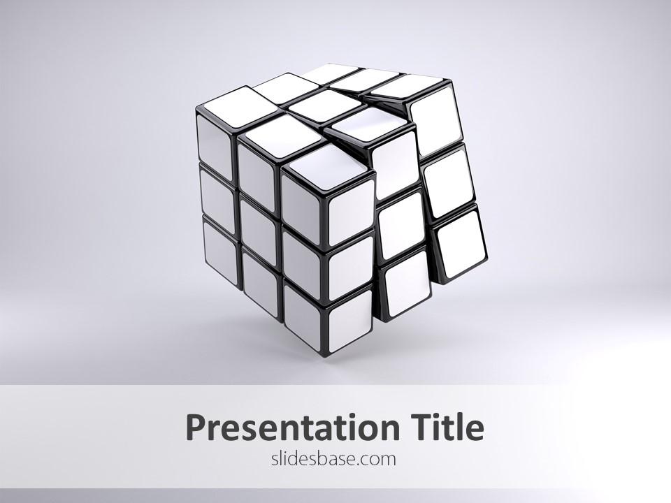 white rubik�s cube � powerpoint template slidesbase