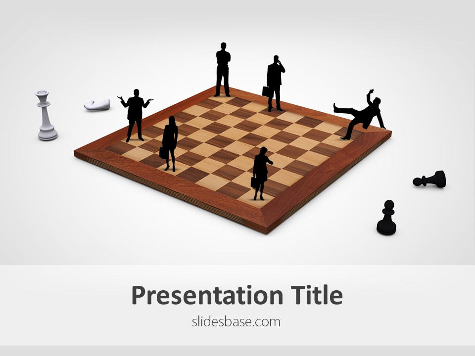 Business strategy powerpoint template slidesbase business strategy chessboard business people silhouettes powerpoint template friedricerecipe